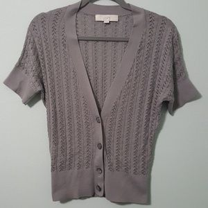 Ann Taylor LOFT Short Sleeve Cardigan Pima Cotton